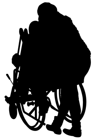 Woman in a wheelchair on a white background Vectores
