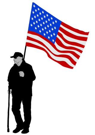 Elderly man with cane on white background Ilustração