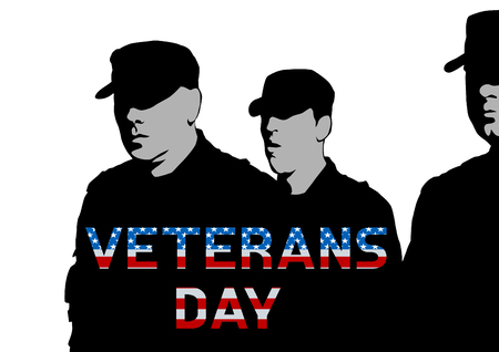 Soldiers man in uniform on white background Illustration