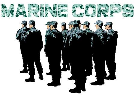 白い背景に制服を着た兵士を建てる  イラスト・ベクター素材