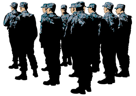 Build a soldier in uniform on white background Illustration