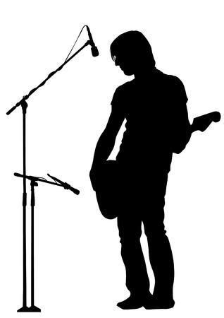 Musician with guitar in blues style on white background