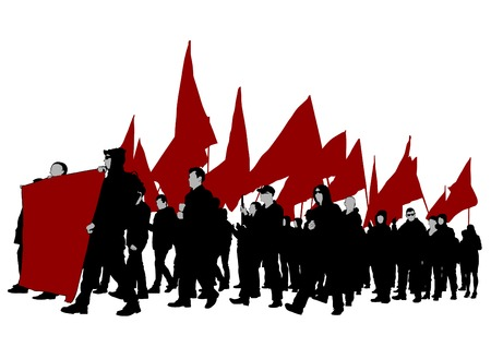 People of with large flags on white background illustration. Illustration