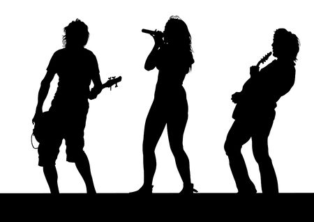 Musical group people in concert on stage on white background