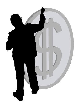 Businessman and dollar sign on white background Çizim