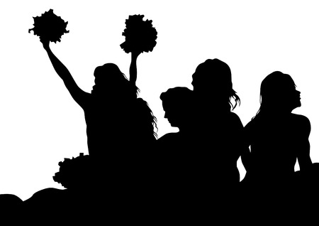 Young cheerleaders on a white background