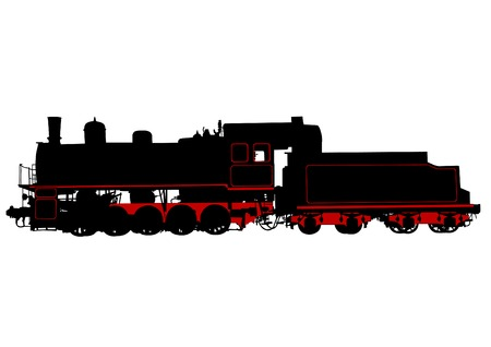Ancient big steam locomotive on a white background