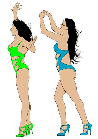 Girls in bikini dance on white background illustration.