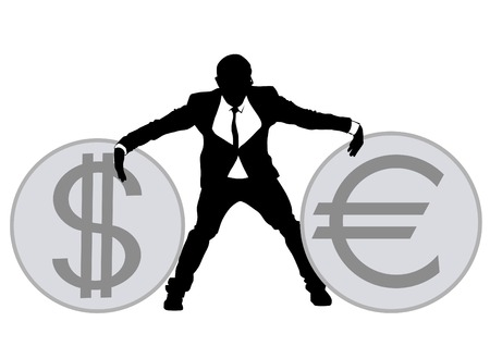Businessman in suit on white background with coins illustration.