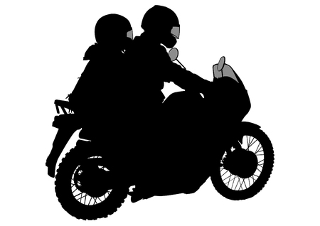 Old big bike and driver on white background