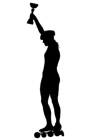 Las mujeres deportivas en patines sobre fondo blanco.