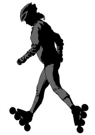 Sports boy on roller skates on white background