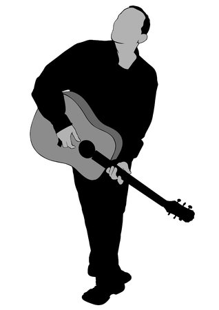 Musician with acoustic guitar on white background