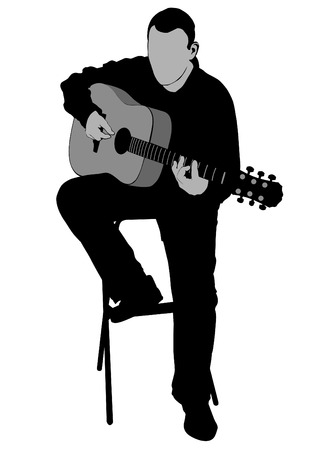 Isolated half sitting musician with acoustic guitar on black illustration