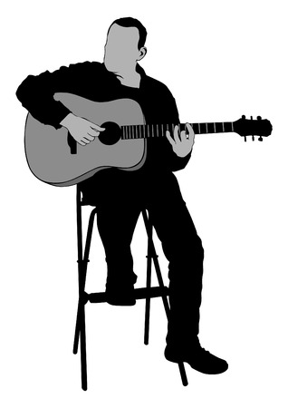 Isolated sitting musician with acoustic guitar on black illustration Illustration