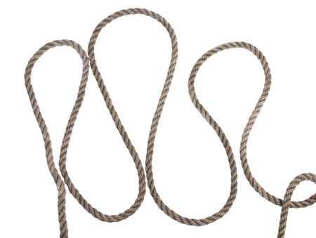 Old coil of rope on a white background