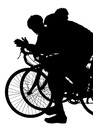 Cyclists silhouette with their bike on white background. 向量圖像