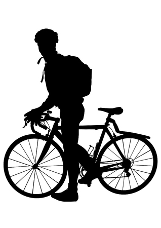 Cyclist with backpack riding his bike silhouette on white background. 向量圖像