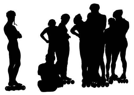 Group of Sports boys and girls on roller skates on white background Vectores