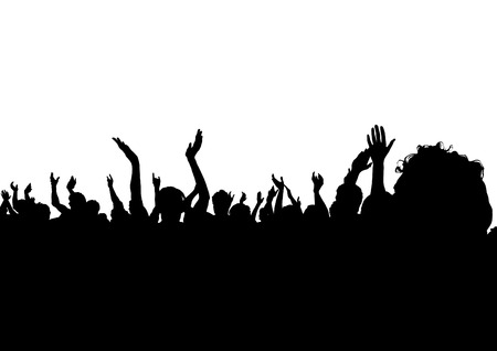 Crowd of spectators at a concert in silhouette illustration on a white background.