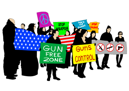 Young american school people against weapon