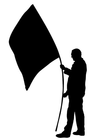 People of with large flags on white background Archivio Fotografico - 98747931