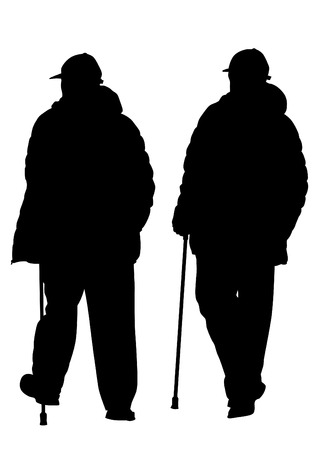 Elderly people with cane on white background Stock Illustratie