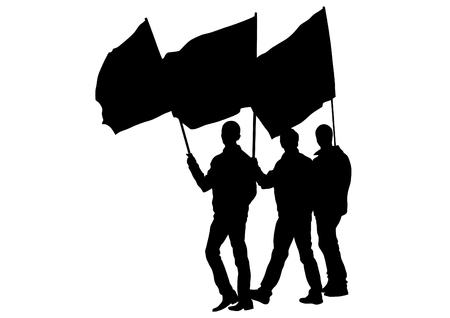 People of with large flags on white background Illustration