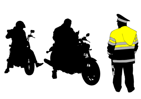 Old retro bike and traffic police on white background