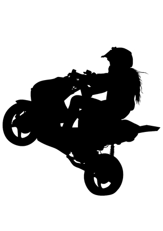 Girl and sport motorbike on white background