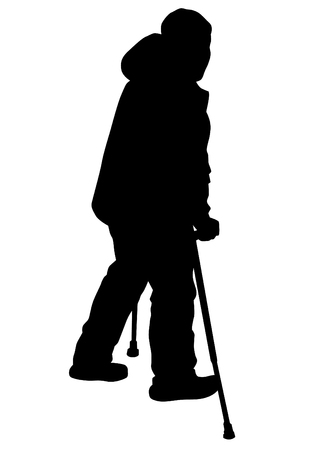 Elderly man with cane one white background 일러스트
