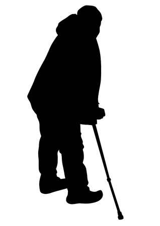 Elderly man with cane one white background Illustration