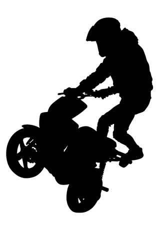 Sport motor scooter and man on white background