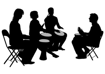 Men and women with african drums on white background Ilustração