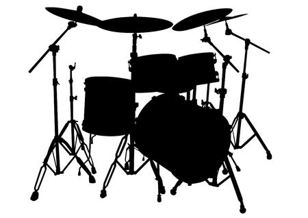 Drum kit per rock band su uno sfondo bianco