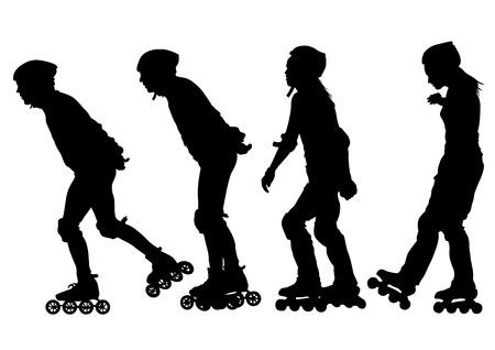 Deportes chico y chica en patines sobre fondo blanco.