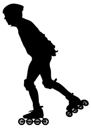 Deportes chico y chica en patines sobre fondo blanco. Ilustración de vector