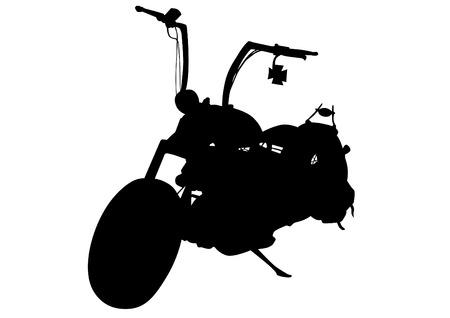 Retro motor bike on white background