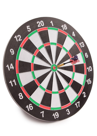 Target for darts whit american flag on white background Foto de archivo