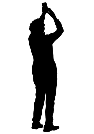 People with a camera on white background Vectores