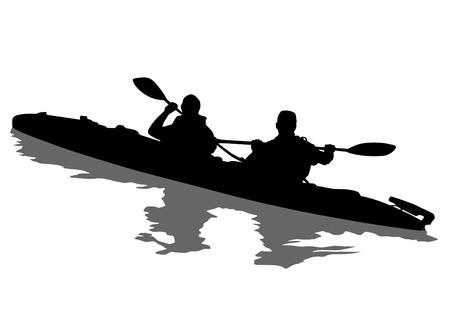 Kayak deportivo con atletas sobre un fondo blanco. Ilustración de vector