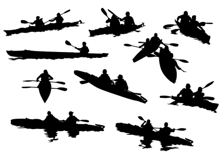 Kayak deportivo con atletas sobre un fondo blanco.