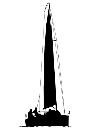 Sports yacht with sail in sea on white background Illustration