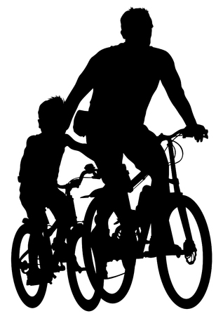Sport man and childrens whit bike on white background