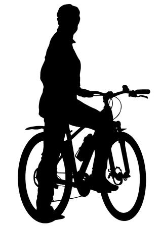 Sport people whit bike on white background Ilustração