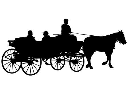 Old carriage and a team of horses on a white background