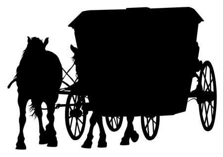 Old carriage and a team of horses on a white background Ilustracja
