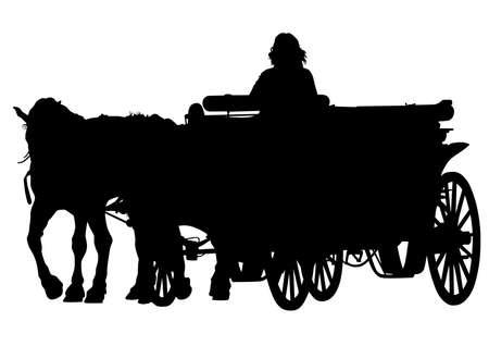 Carro viejo y un equipo de caballos sobre un fondo blanco. Ilustración de vector