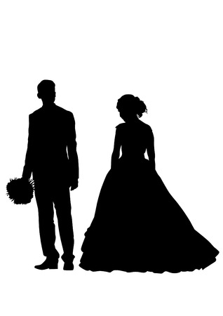 Young couple in wedding clothes on a white background Vector Illustratie