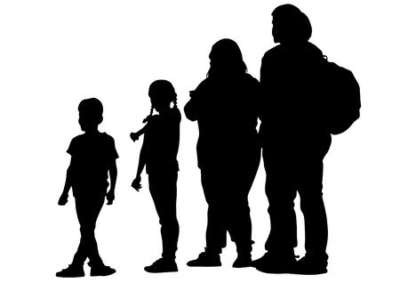 Families with child walking on white background Ilustração